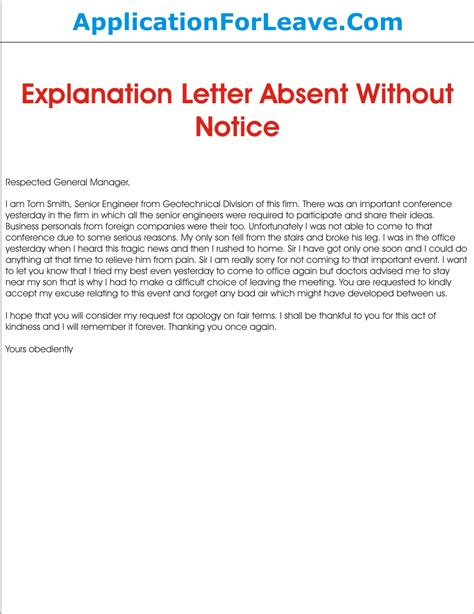 Explanation Letter For Being Absent Without Notice Absent From Work Explanation Letter