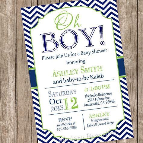 invites for baby shower boy oh boy baby shower invitation navy and lime green chevron