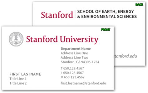 Stanford Business Cards stationery business cards stanford school of earth