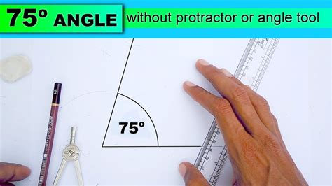 Drawing 75 Degree Angle Compass by Learn To Draw 75 Degree Angle Without Protractor Or Angle