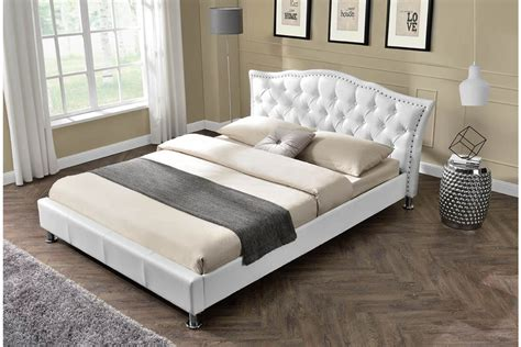 double king size bed georgio white faux leather designer bed frame double