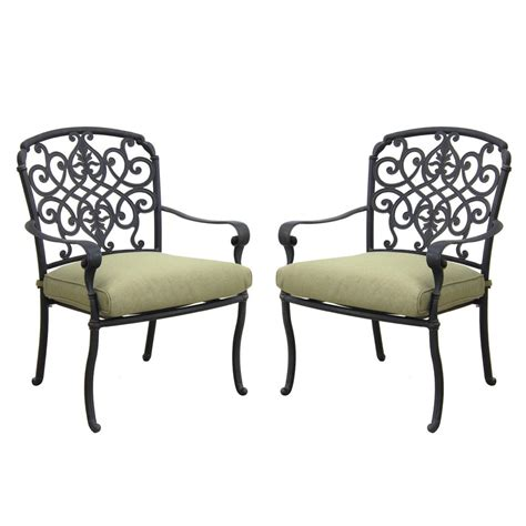 Pair Of Dining Chairs Hton Bay Edington Cast Back Pair Of Patio Dining Chairs With Celery Cushions 141 034 Dc2