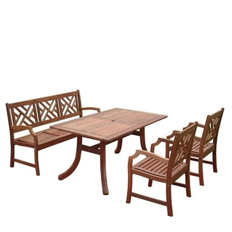 atlantic 4 piece wood patio dining set v187set1