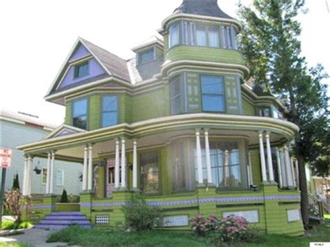 Banister Paint Ideas Victorian Home Accented In Purple For Sale In New York