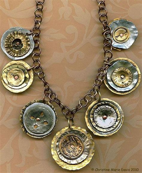 Handmade Button Jewellery - smashed button necklace with handmade brass chain by