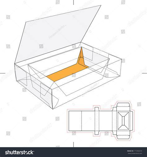 box layout vector box think lid flipflop lid blueprint stock vector