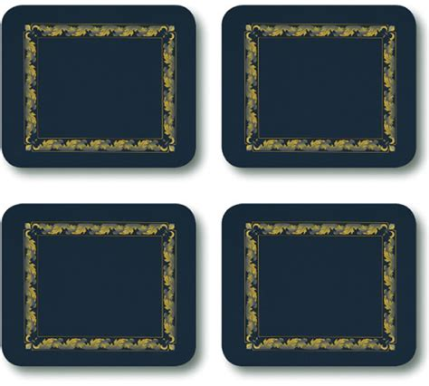Jason Table Mats by Jason Placemats Acanthus Navy Corkbacked Place Mats