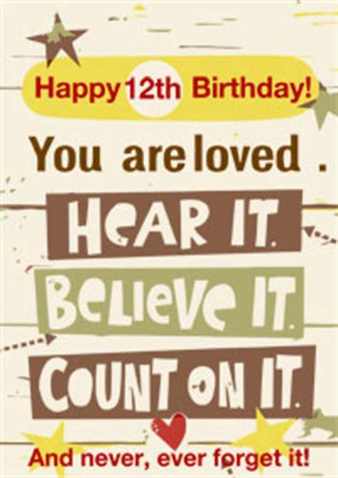 Twelfth Birthday Quotes 12th Birthday Card Inspiritional Card