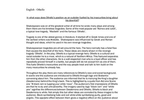 Othello Essays On Othellos Character by Essays On Othellos Downfall Essay About Othello Downfall
