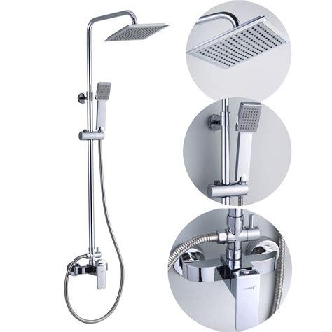 Bathroom Square Rain Shower Set Mixer Taps In Chrome JD