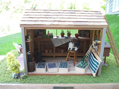 Doll House Shed pulchinella s cellar miniatures dollhouse garden shed vignette