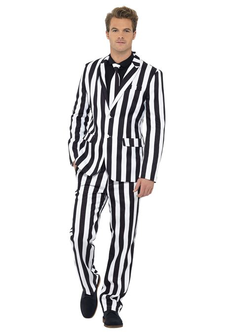 19642 White Black Suit s humbug striped suit
