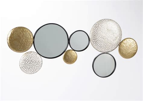 Beau Decoration Murale En Metal Design #1: Decoration-murale-metal-ronds-dores-argentes-et-miroirs-119x53cm.jpg