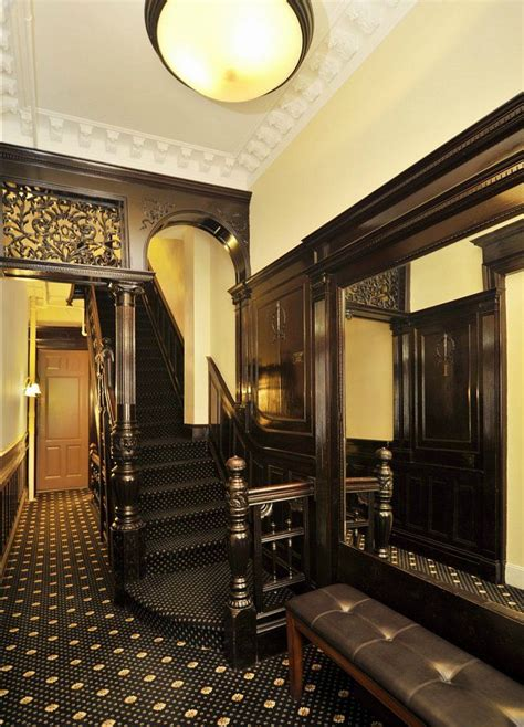 dark gothic staircase designs new york upper west side brownstone victorian interior