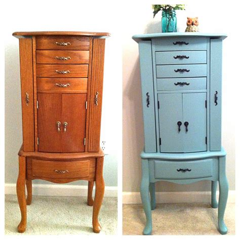 diy jewelry armoire diy jewelry armoire redo painted in valspar patina blue but color matched to sw