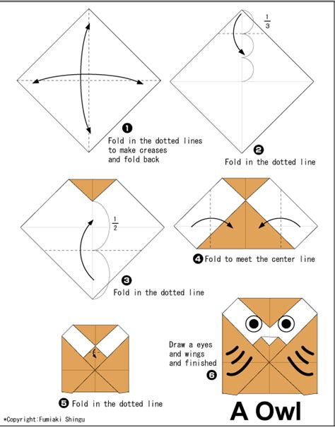 Simple Origami For Children - owl easy origami for