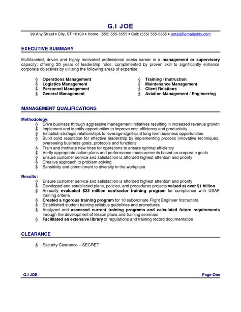 executive summary for resume exles resume exles for executive summary with management