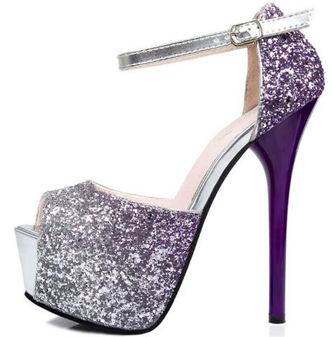 heels 5 cm glitter glossy mewah size 4 8 purple peep toe shoes shiny