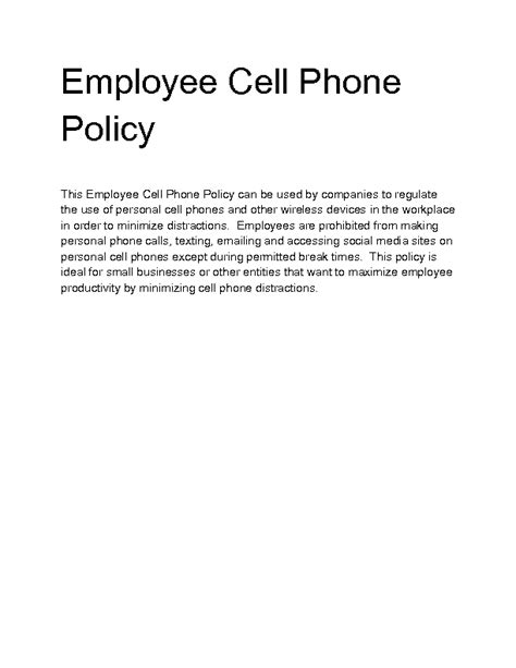 mobile phone policy template welcome to docs 4 sale
