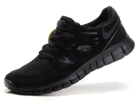 nike free run 2 womens mens all black running shoes