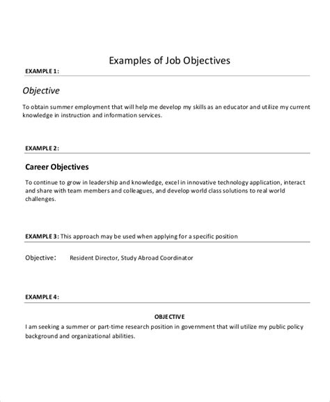 Resume Objective For It Position by 18 Sle Resume Objectives Free Sle Exle Format Free Premium Templates