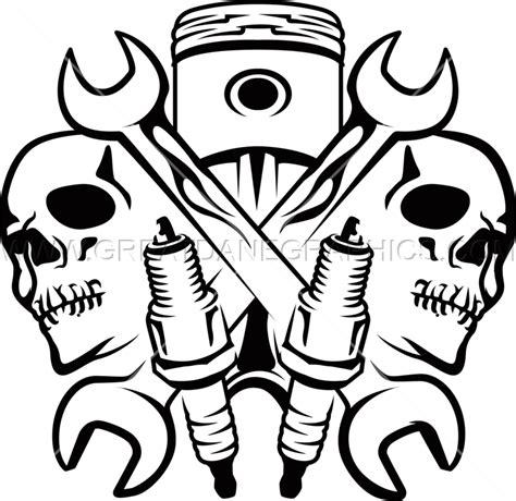 mechanic drawing mechanic skulls production ready artwork for t shirt