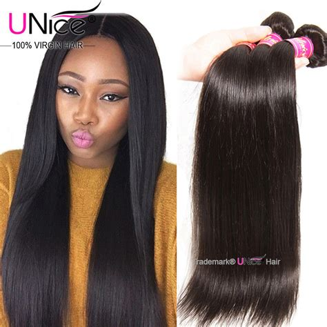 pics of women with 1 inch hair unice brazilian virgin hair straight 3 bundles 8a straight