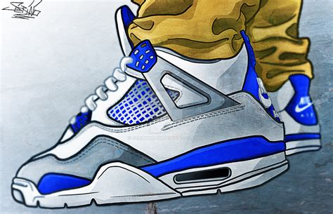 Drawing Jordans by Air Iv Blue By Sebinodraw On Deviantart