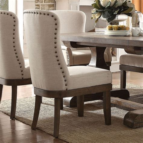 acme landon upholstered side chair  beige  salvage