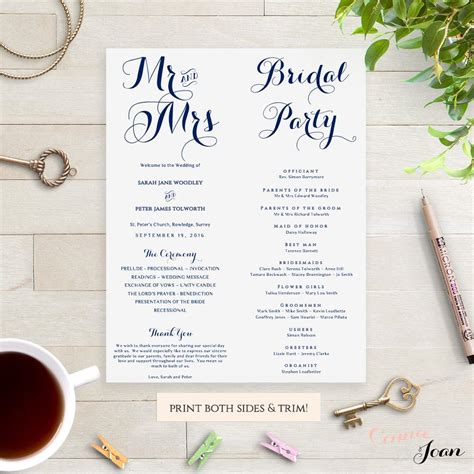 wedding order of service single sided flat program thick style