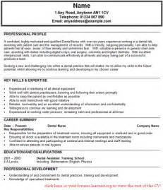 Dental Cv Template dental assistant cv exle forums learnist org