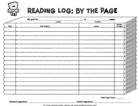 book reading log page printable worksheets