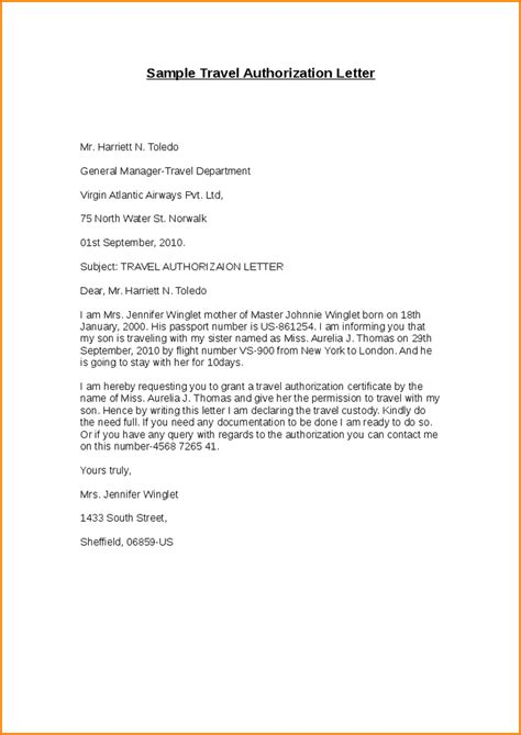 authorization letter sle to travel with a minor authorization letter for a minor to travel sle 28 images
