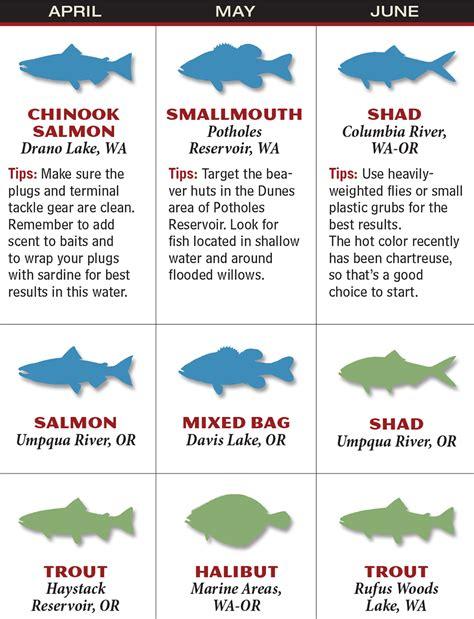 Calendar Washington And Washington And Oregon 2016 Fishing Calendar Fish