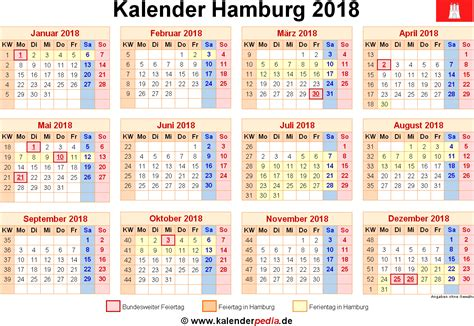 Kalender 2018 Mit Feiertagen Hamburg Kalender 2018 Hamburg Ferien Feiertage Pdf Vorlagen