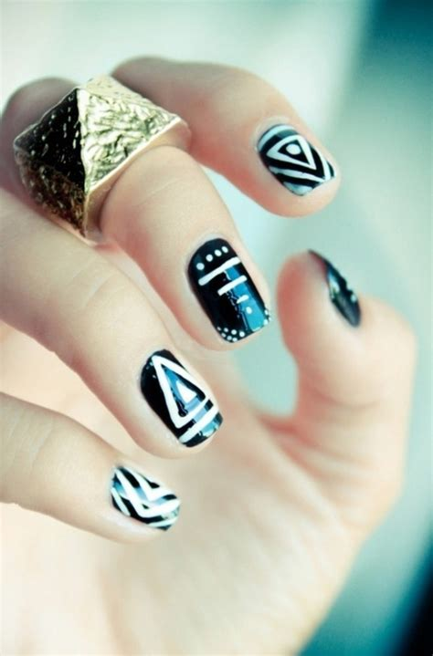 aztec pattern nail art 35 stunning tribal nail art design inspirations