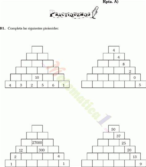 suma en piramides numericas de tercer grado de primaria piramides numericas ejercicios resueltos de sexto de primaria