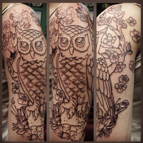 owl tattoo half sleeve left half sleeve owl tattoo tattoos pinterest
