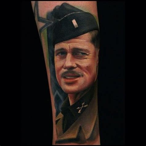 brad pitts tattoos brad pitt inglorious basterds colour portrait by