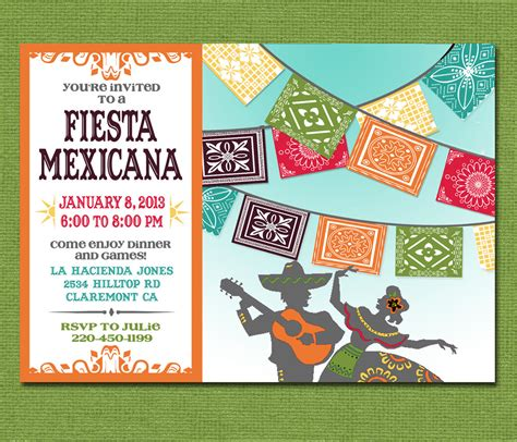 Print Yourself Mexican Fiesta Invitation Custom Printable Mexican Invitation Template