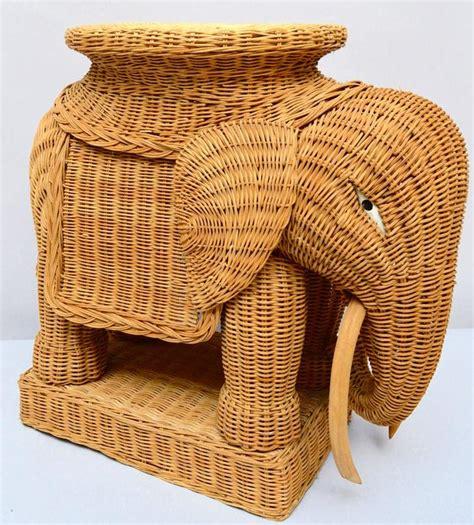 Wicker Elephant Table vintage italian wicker elephant side table or stool at 1stdibs