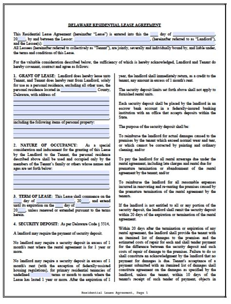 free printable delaware lease agreement free delaware standard residential lease agreement pdf