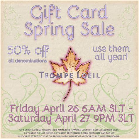 Gift Card 50 Off - gift card spring sale 50 off all gift cards one day only april 26 27 trompe