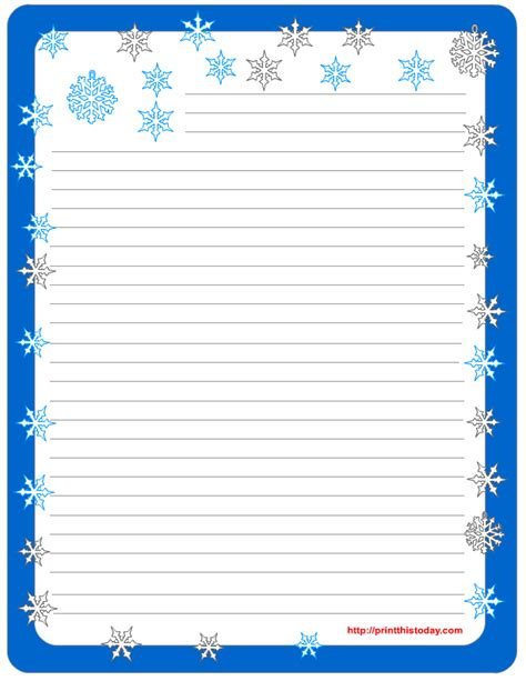 Free Winter Writing Paper Snowflake Stationery Template