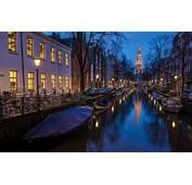 Amsterdam Holland Houses Boat River Night Wallpaper
