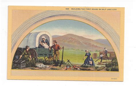 salt lake city house painters linen postcard building the first house in salt lake city utah mural painting in
