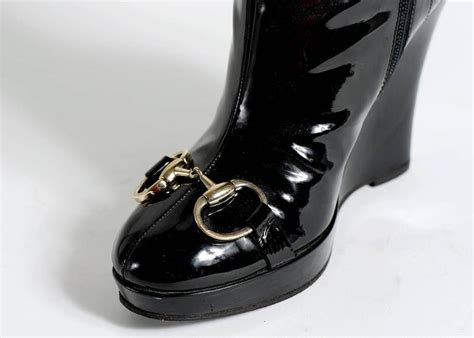 gucci patent leather high wedge boots for sale at 1stdibs