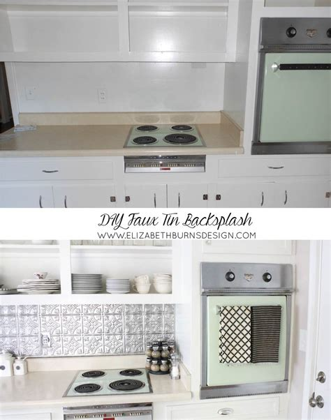 faux tin kitchen backsplash inexpensive faux tin backsplash elizabeth burns design
