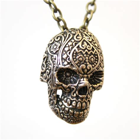 bronze sugar skull necklace jewelry by michael doyle