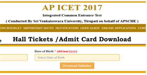 Mba Cet 2017 Admit Card by Ap Icet Admit Card 2017 Ticket Ts